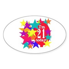 Balloon and Stars 21st Birthday Oval Decal