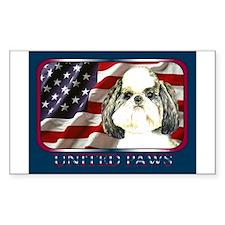 Shih Tzu Puppy Cut Flag Rectangle Decal