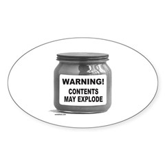 CONTENTS MAY EXPLODE Oval Sticker (10 pk)