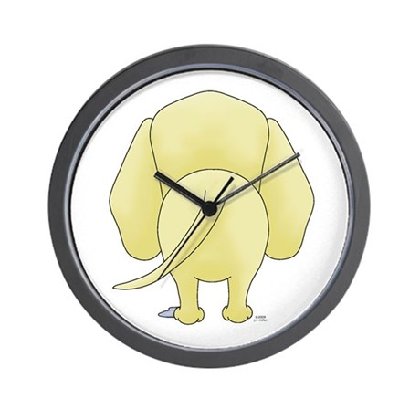 big butt yellow lab wall clock by graffitidawgs