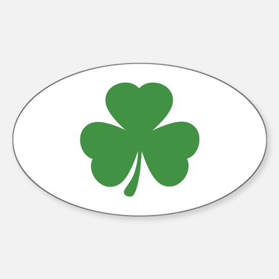 green shamrock irish Oval Decal