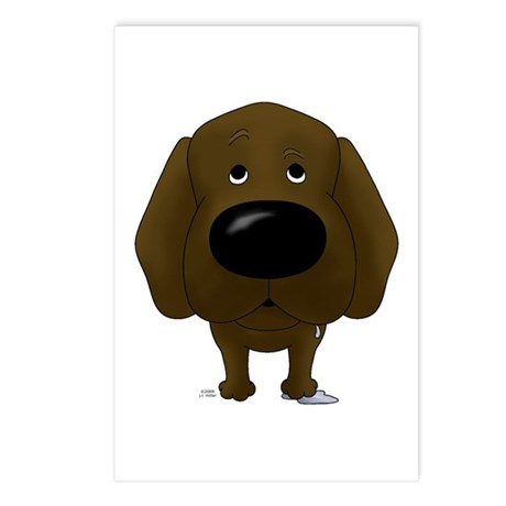Big Nose Chocolate Lab Postcards (Package of 8)