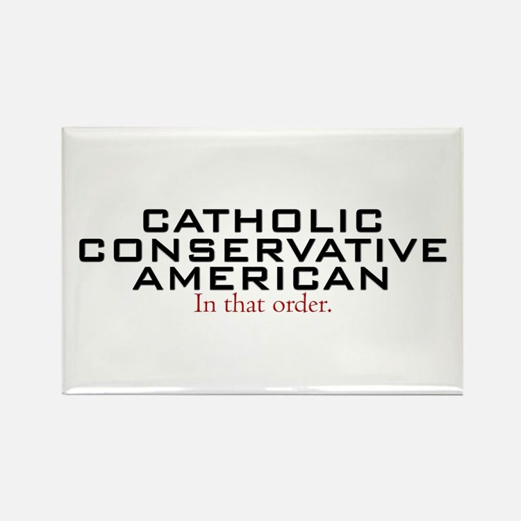 Catholic Conservative American Rectangle Magnet