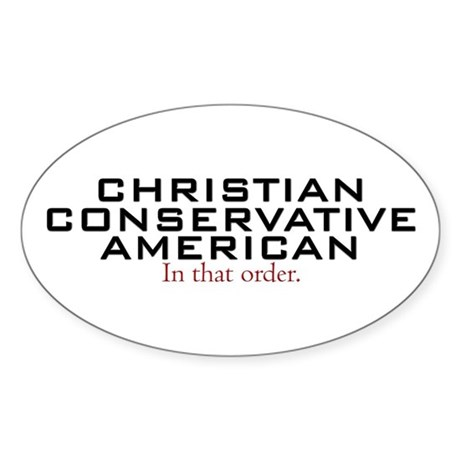 Christian Conservative American Oval Sticker