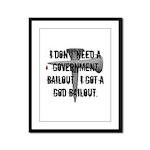 God Bailout Framed Panel Print