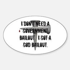 God Bailout Oval Decal
