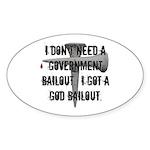 God Bailout Oval Sticker