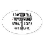 God Bailout Oval Sticker (50 pk)