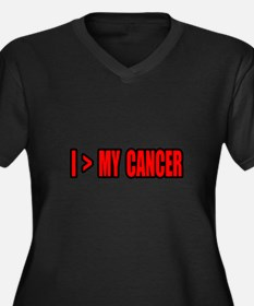 """""""I Am Greater Than My Cancer"""" Women's Plus Size V-"""