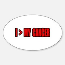 """""""I Am Greater Than My Cancer"""" Oval Decal"""