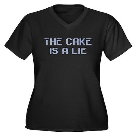 The Cake Is A Lie Women's Plus Size V-Neck Dark T-