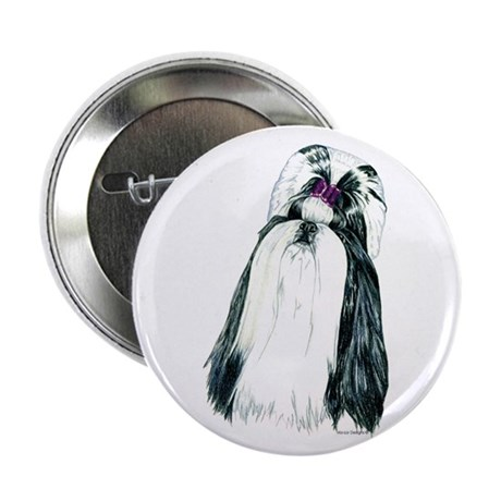 "Black/White Shih Tzu Portrait 2.25"" Button (10 pac"