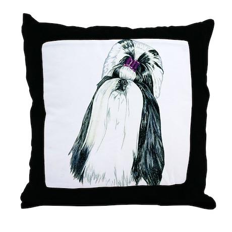 Black/White Shih Tzu Portrait Throw Pillow