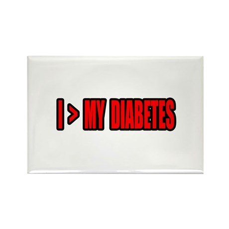 """""""Greater Than My Diabetes"""" Rectangle Magnet (100 p"""