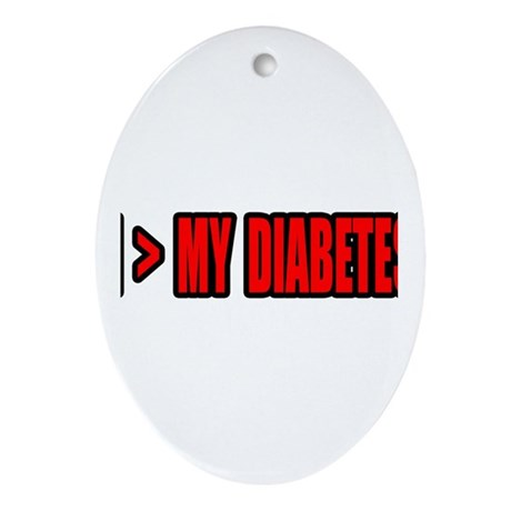 """""""Greater Than My Diabetes"""" Oval Ornament"""