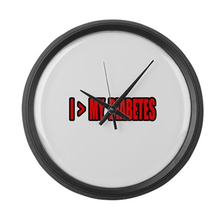 """Greater Than My Diabetes"" Large Wall Clock"