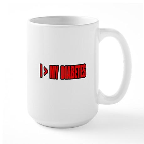 """Greater Than My Diabetes"" Large Mug"