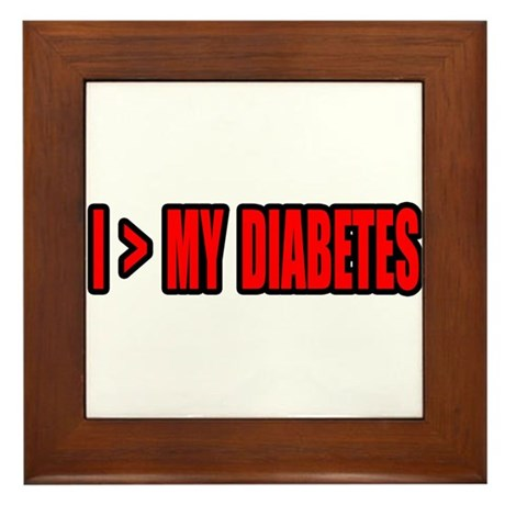 """Greater Than My Diabetes"" Framed Tile"