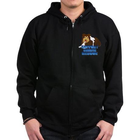 Support Sheltie Rescue Zip Hoodie (dark)