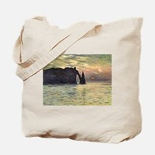 Claude Monet, Cliff Etretat Sunset Tote Bag