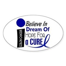 Believe Dream Hope Colon Cancer Oval Decal