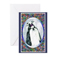 Black/White Shih Tzu Designer Greeting Cards (Pack