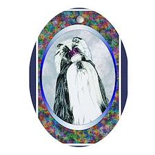 Black/White Shih Tzu Designer Oval Ornament