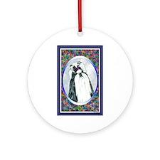 Black/White Shih Tzu Designer Ornament (Round)