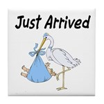 Stork and Baby Boy Tile Coaster