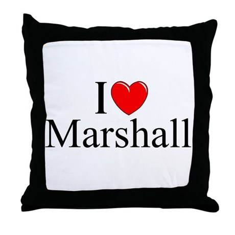 """I Love (Heart) Marshall"" Throw Pillow"
