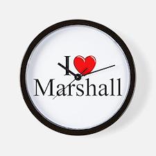 """""""I Love (Heart) Marshall"""" Wall Clock"""