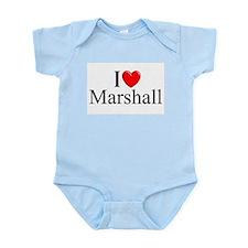 """""""I Love (Heart) Marshall"""" Infant Bodysuit"""