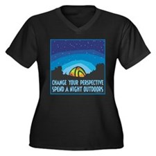 Tent Camping Women's Plus Size V-Neck Dark T-Shirt