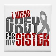 I Wear Grey For My Sister 6 Tile Coaster