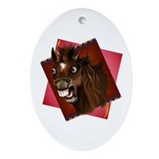 Laughing Horse Expressions Oval Ornament