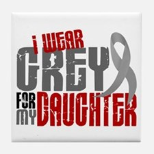 I Wear Grey For My Daughter 6 Tile Coaster