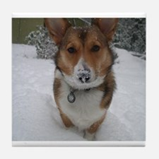 Winter Corgi Tile Coaster