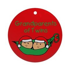 Grandparents of Twins Pod Ornament (Round)