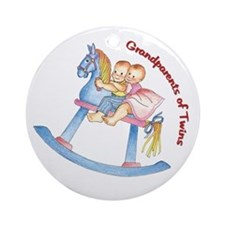 Grandparents of Twins Horse Ornament (Round)