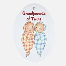 Grandparents of Twins Christmas Oval Ornament