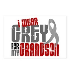 I Wear Grey For My Grandson 6 Postcards (Package o