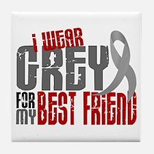 I Wear Grey For My Best Friend 6 Tile Coaster