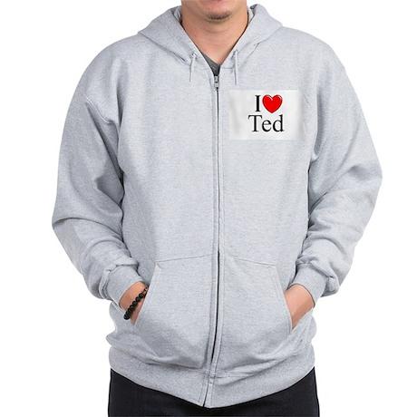 """""""I Love (Heart) Ted"""" Zip Hoodie"""