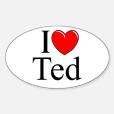 """I Love (Heart) Ted"" Oval Decal"