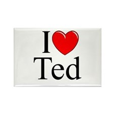 """""""I Love (Heart) Ted"""" Rectangle Magnet"""