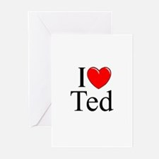 """""""I Love (Heart) Ted"""" Greeting Cards (Pk of 10)"""