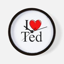 """""""I Love (Heart) Ted"""" Wall Clock"""