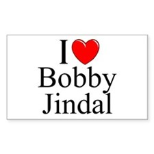 """I Love (Heart) Bobby Jindal"" Rectangle Decal"