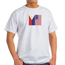 Philippine and US Flags Ash Grey T-Shirt