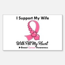 Breast Cancer Support Wife Rectangle Decal